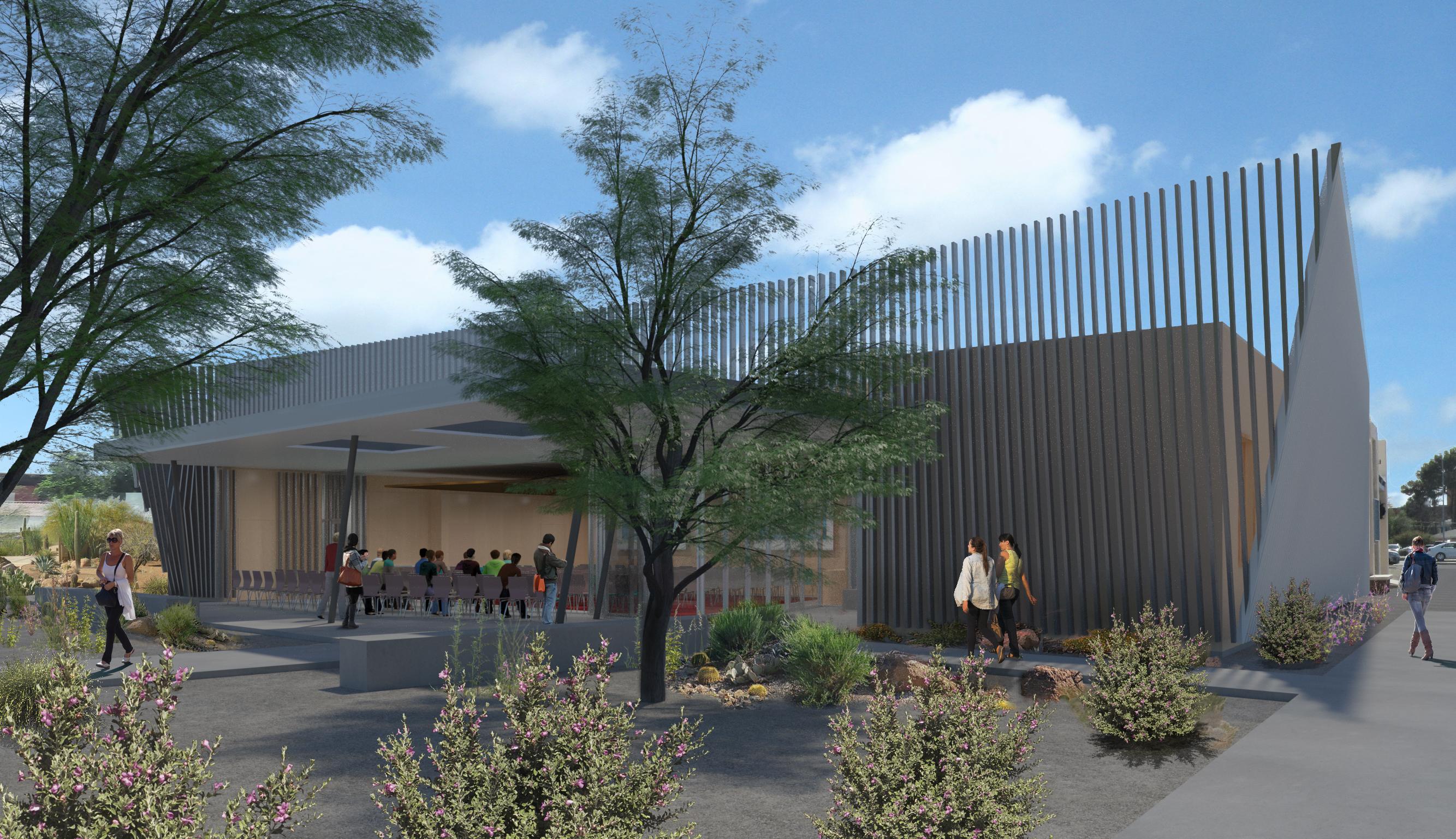 Landscaped Entry Plaza