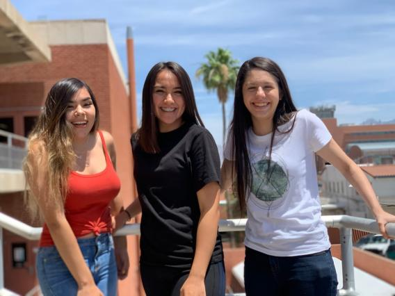 group photo of 3 students