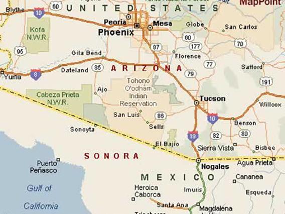 arizona mexicco border on map