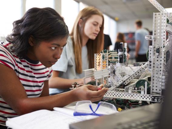 student in STEM classroom