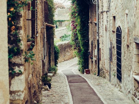 view of a narrow street in italy