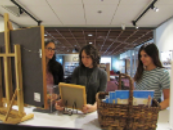 patrons browsing the library