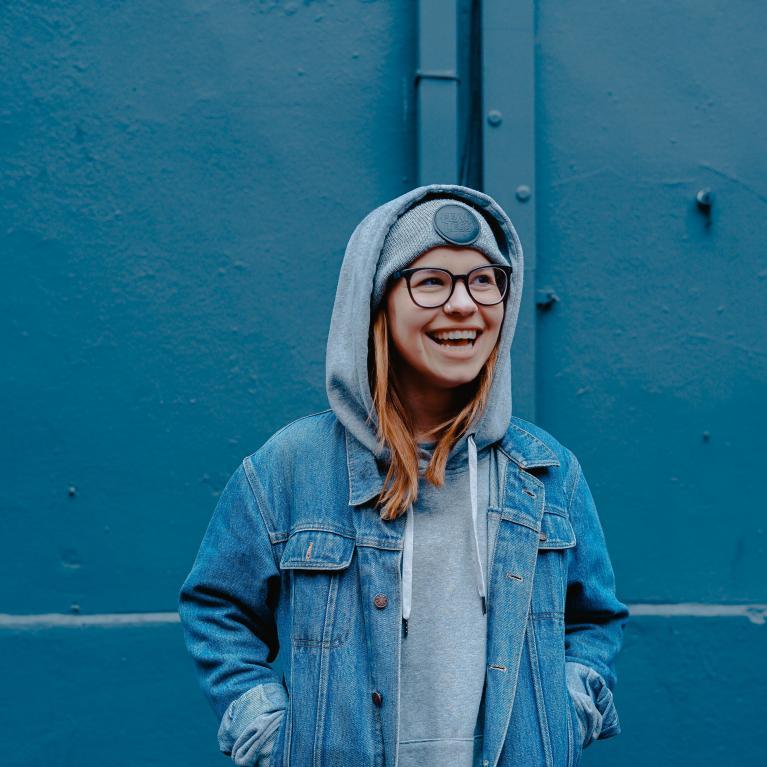 Teen in blue