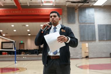 Ricardo Dominguez giving a speech