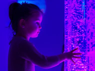 child touching the glass of an aquarium