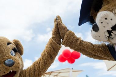 wilma wildcat and wilbur wilcat giving a high five